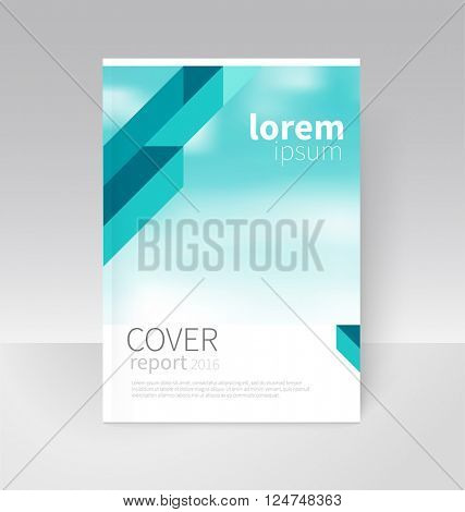Cover design. Brochure, flyer, annual report cover template. a4 size. modern Geometric Abstract background. blue diagonal lines. blurred background vector-stock illustration EPS 10