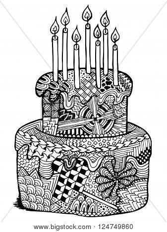 Birthday cake vector photo free trial bigstock birthday cake zentangle illustration hand drawn zenart cake with candles happy birthday vector can stopboris Choice Image
