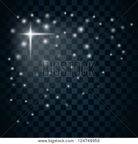 Shine star with glitter and sparkle icon. Effect twinkle glare glowing graphic light sign. Transparent glow design element on dark background. Template bright flash decoration. Vector illustration. poster