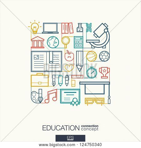 Education integrated thin line symbols. Modern linear style vector concept, with connected flat design icons. Abstract background illustration for elearning, knowledge, learn and global concepts.