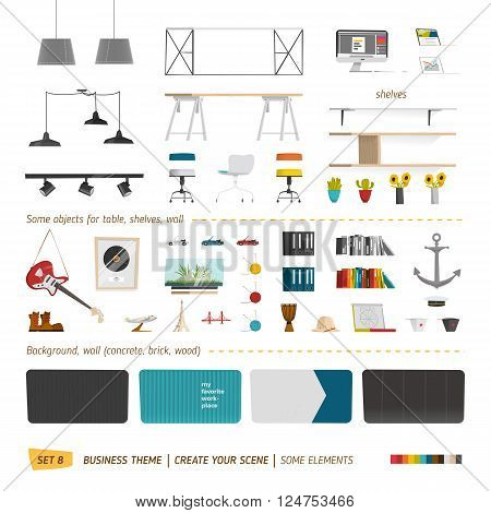 Some office furniture. Create your interior. EPS 10