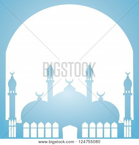 Greeting card in Arabic style. An Eastern city with minarets and Crescent on a blue background