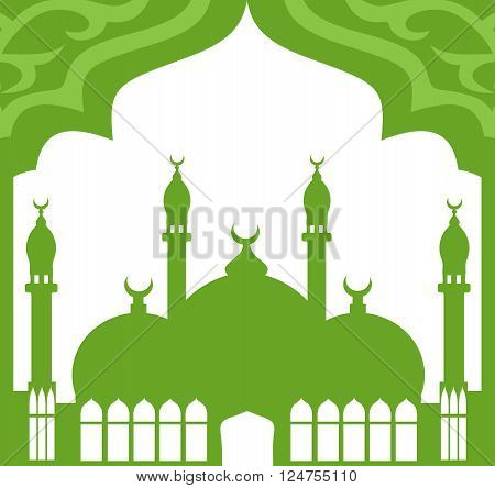 Greeting card in Arabic style. An Eastern city with minarets and Crescent on a white-green background