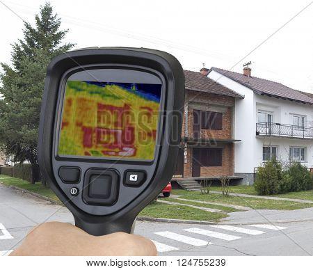 Raw Brick Semi detached House Thermal Imaging poster