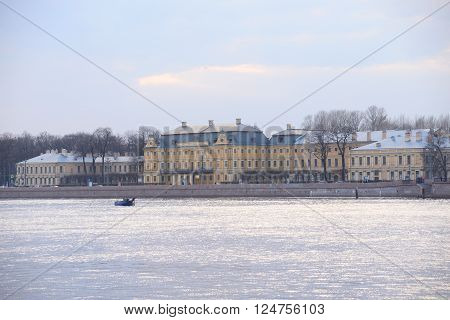 Menshikov Palace on University Embankment of Neva River in St.Petersburg Russia.
