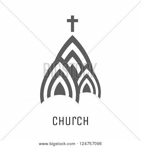 Church logo vector icon. Religious concept three domes symbol of church building with cross.