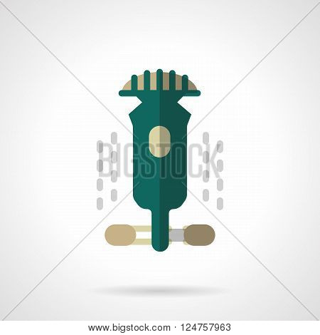 Abstract longboarding sign. Green longboard. City activity lifestyle. Extreme sport. Flat color style vector icon. Web design element for site, mobile and business.
