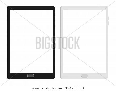 Flat tablet pc computer with blank screen isolated on white background. Vector eps10 illustration. Tablet Icon Vector.