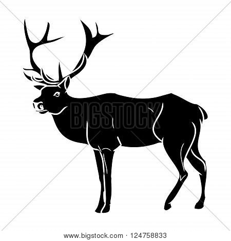 Graphic image of deer. Black silhouette of wild deer. Vector illustration
