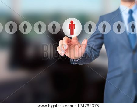 Networking And Recruitment - Businessman Hand Pressing Button On Touch Screen Interface.