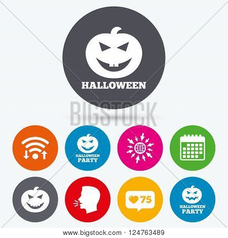 Wifi, like counter and calendar icons. Halloween pumpkin icons. Halloween party sign symbol. All Hallows Day celebration. Human talk, go to web.
