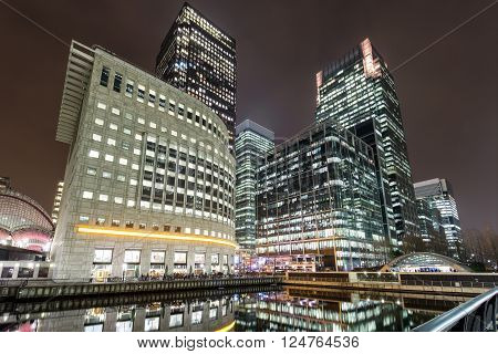 Financial district Canary Wharf in London, United Kingdom, by night