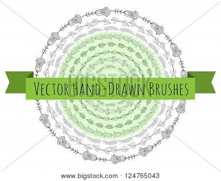 Vector Decorative Scribble Paintbrushes with Inner and Outer Corners. Hand Drawn Ink Brushes. Stock vector