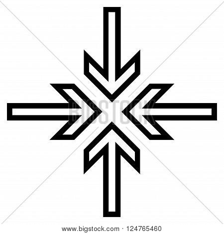 Implode Arrows vector icon. Style is stroke icon symbol, black color, white background.