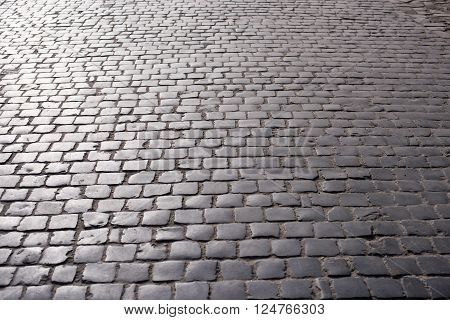 paving stones on the old road in daylight