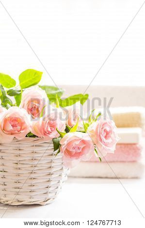 Beautiful pink roses in a white basket close up