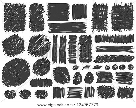 Doodle spots and frames vector. Set of simple bold doodle lines curves frames and spots. Pencil effect collection. Doodle bold borders. Set of simple doodles. Pencil effect sketch isolated on white.