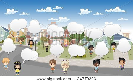 Cute happy cartoon kids talking in the street of a retro suburb neighborhood. Cartoon city.