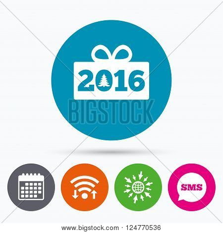 Wifi, Sms and calendar icons. Happy new year 2016 sign icon. Christmas gift anf tree. Go to web globe. poster