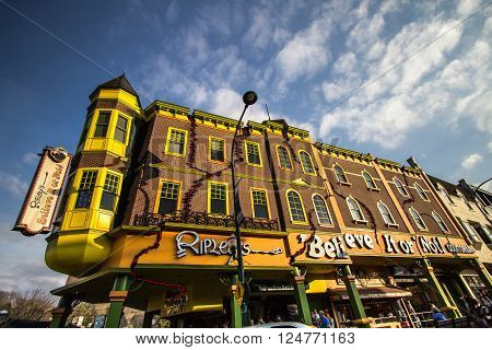 Gatlinburg, Tennessee, USA. March 25, 2016 - The Ripley's Believe It Or Not Odditorium in Tennessee. The Ripley's franchise has operations throughout North America in tourist based towns.