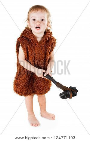 Little funny caveman boy in a suit with a dirty face holding an ax. Humorous concept ancient caveman. Isolated on white. poster