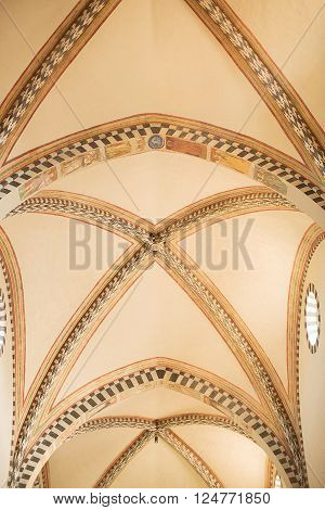 Florence, Italy-June 2, 2016. Interior detail of the Basilica of Santa Maria Novella, situated just across from the main railway station which shares its name.