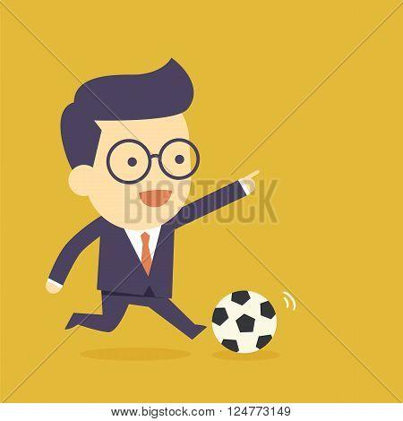 Businessman play the football  for cartoon concept