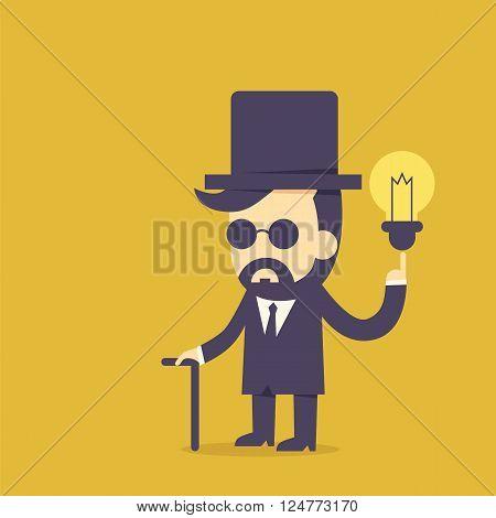 Vintage businessman and bulb idea for cartoon concept