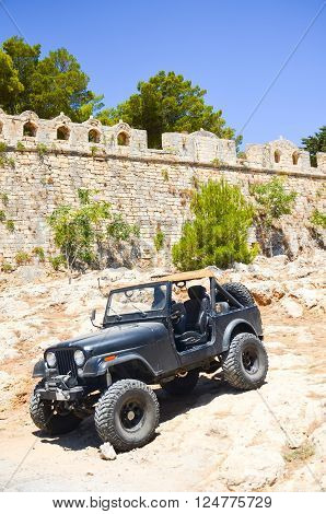 GREECE, CRETE, RETHYMNON - JULY 14/2014: Near the fortress was an exhibition in vehicles.