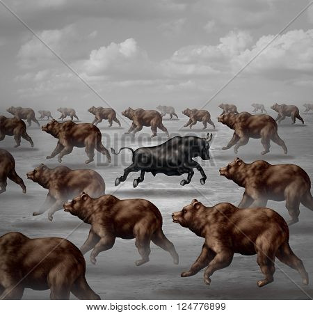 Stock market positive forecast financial concept and contrarian individual financial symbol as a bull running in the opposite direction of a group of bears as a 3D illustration invest trend symbol.