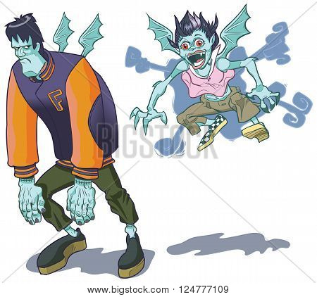 Teenage cartoon versions of a monster and his vampire girlfriend. The spunky little vamp has given Frank a playful little bite on the neck and now he has wings like hers.