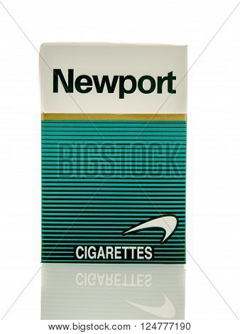 Winneconne, WI - 3 April 2016: Box of Newport menthol cigarette's on an isolated background.