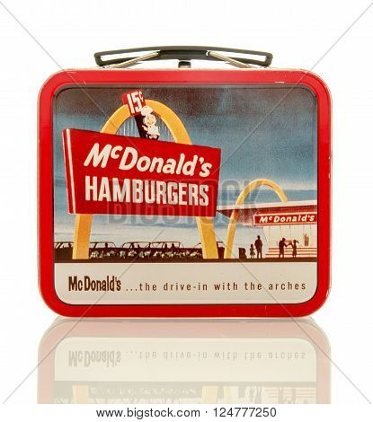 Winneconne WI - 6 April 2016: Metal lunch box featuring McDonald's on an isolated background.