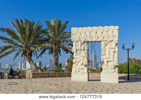 JAFFA, ISRAEL - JULY 21, 2015: Gate of Faith -  large statue at the Peak Park of Jaffa made of Galilee stone by sculptor Daniel Kafri between 1973-1975, represents promise of the land to Patriarchs.