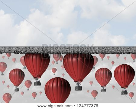 Hitting a wall and reach the limit or ceiling as a business concept for restricted opportunity and closed economic barrier to succeed as a group of 3D illustration balloons trapped by a thick roof.