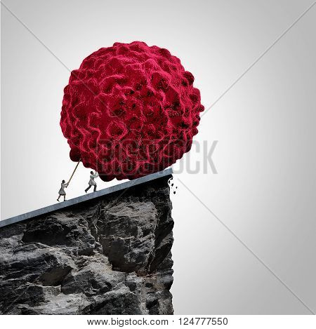 Cancer research and oncology medical concept as a group of oncologist doctors pushing a 3D illustration of a malignant cancerous cell over a cliff to destroy the disease as a metaphor for prevention and treatment of the illness.