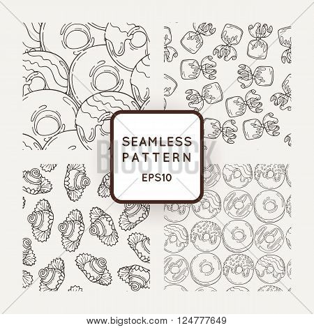 Set of Vector Candy, Bows and Donuts Seamless Patterns. Sweet Party Texture. Buns, donuts and jelly beans.