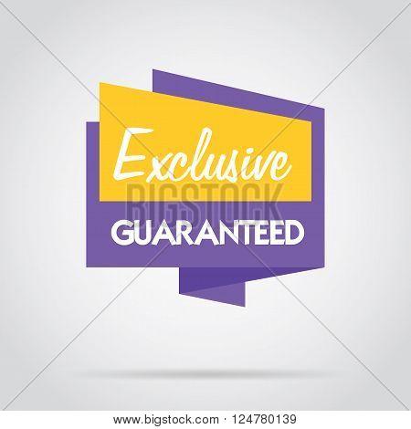 Guaranteed banner. Advertisement symbol. Guaranteed icon. Guaranteed badge vector isolated. Special offer badge. Guaranteed badge label. Promo badge. Guranteed icon. 100% guaranteed. Exclusive guaranteed badge.