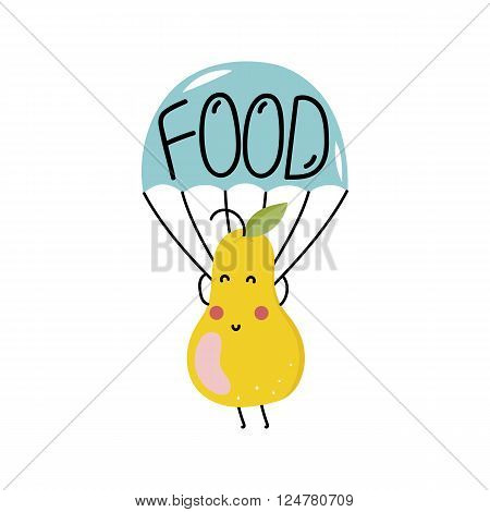 Organic food label isolated on white background. Food element. Logo for vegan menu or food icon. Funny food icon. Cute cartoon food icon vector illustration. Organic food icon. Food logo.Natural product icon. Food icon.
