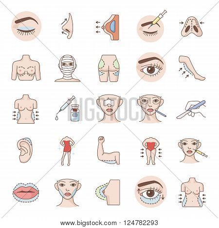 Plastic surgery 25 color vector icons collection