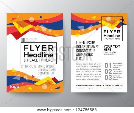 Abstract 80's style Triangle curve wave shape background for Poster Brochure Flyer design Layout vector template in A4 size
