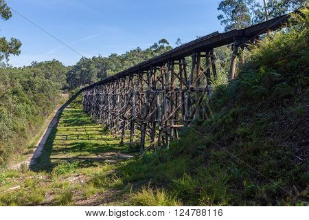The Stony Creek Vintage Trestle Bridge. Old railroad bridge, Victoria, Australia