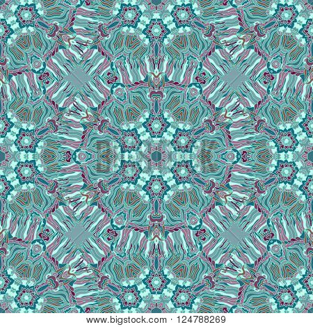 Bright psychedelic kaleidoscope mandala seamless pattern. Vector illustration