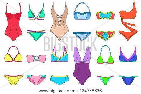 Doodle Bikini Swimming Suits Set Women Cloth Color