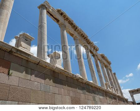 Columns of ancient greek city of Pergamon, Turkey