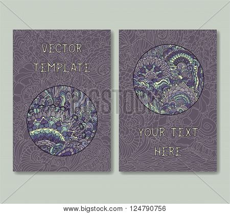 Vintage doodle card template set. Vector illustration