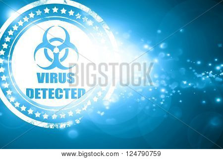 Glittering blue stamp: contagion concept background with some soft smooth lines