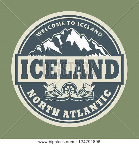 Abstract stamp or emblem with the text Iceland, North Atlantic, vector illustration