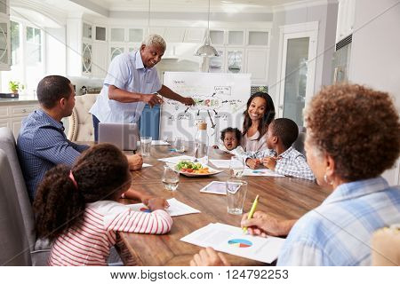 Grandad presenting at a multi generation family home meeting