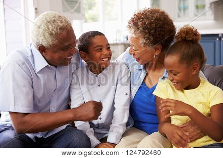 Grandparents and their young grandchildren relaxing at home